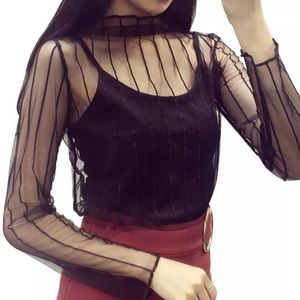 Tops - Transparent mesh long sleeve pullover top